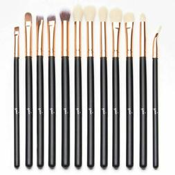 Qivange 12pcs Eye Brush Set, Cosmetics Concealer Eyeliner Bl
