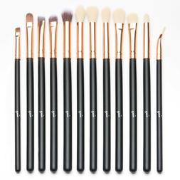 Qivange 12pcs Eye Brush Set Cosmetics Eyeliner Eyeshadow Ble