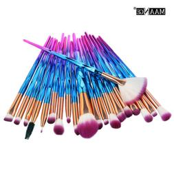 20PC Pro Mermaid Glitter Makeup Brushes Set Powder Foundatio