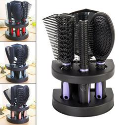 5pcs Women Ladies Hair Brush Massage Comb Holder Set With Mi