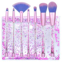 7pcs Crystal Makeup Brushes Kit Cosmetic Eyeshadow Powder Fo