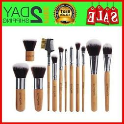 EmaxDesign 12 Pieces Makeup Brush Set Professional Bamboo Ha