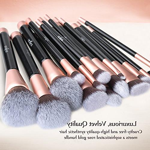 Anjou 16pcs Premium Cosmetic for Foundation Concealer Eye Shadow, Cruelty-Free Synthetic Fiber Bristles, Leather Rose