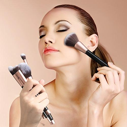 Anjou Set, 16pcs Premium Cosmetic Brushes for Concealer Shadow, Synthetic Fiber Bristles, Leather Clutch