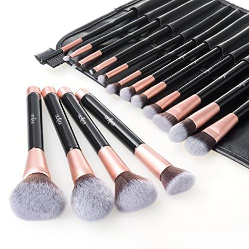 Anjou Brush Set, 16pcs Premium Brushes for Foundation Blush Concealer Shadow, Synthetic Fiber Leather Roll Clutch Rose