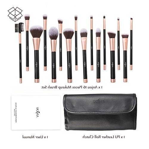 Anjou Makeup Set, 16pcs Premium Cosmetic for Concealer Synthetic Fiber Leather Roll Included, Rose