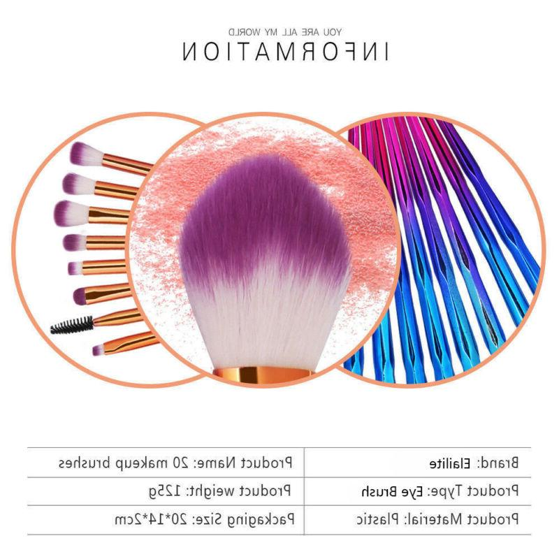 Unicorn Kabuki Makeup Set Cosmetic Brushes Purple