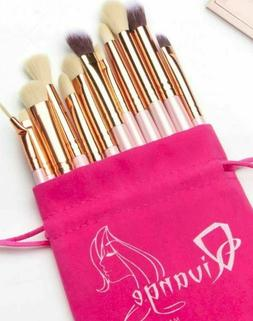 Qivange Makeup Brush Set 12 Piece with Portable Pouch