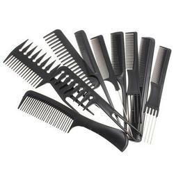 10Pcs Set Hair Styling Hairdressing Plastic Barbers Brush Co